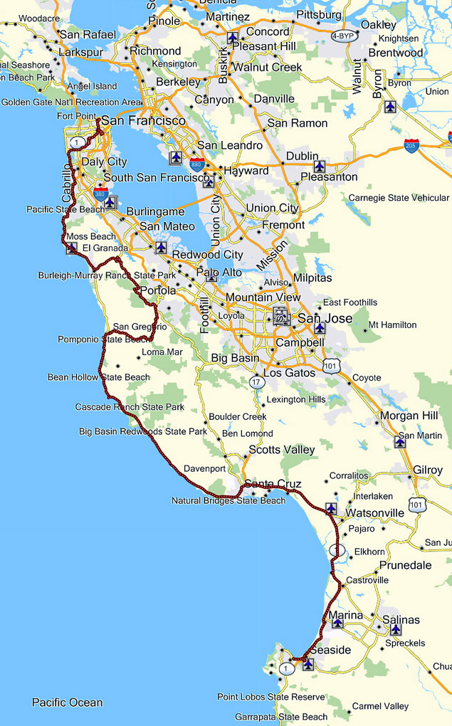 kalifornia térkép Kalifornia 2010. 13 – San Frisco – Monterey | motorostura.hu kalifornia térkép