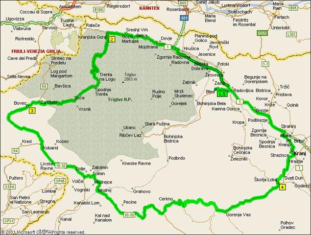 szlovénia látnivalók térkép Triglav útvonalterv | motorostura.hu szlovénia látnivalók térkép